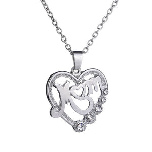 Unique Mom's Crystal Heart Pendant Necklace