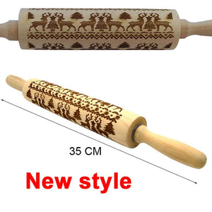 Beautiful Pattern Embossing Rolling Pin (Kitchen, Christmas)