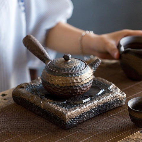 Handmade Stoneware Side Handle Ceramic Teapot