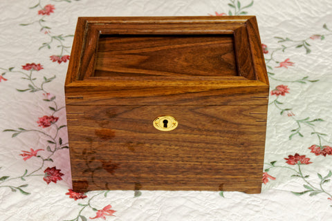 "6"" x 4"" Opening Walnut Embroidery Display Box with Lock"