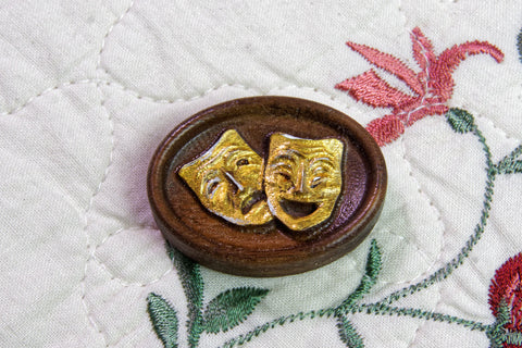 Painted Theatre Masks Magnetic Needle Minder