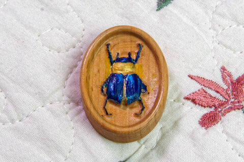 Carved & Painted Egyptian Scarab Beetle Magnetic Needle Minder