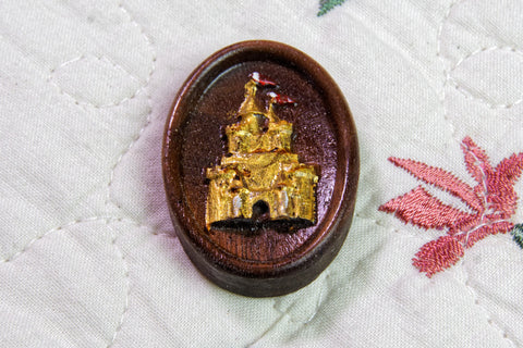 Fantasy Castle Carved Painted Magnetic Needle Minder