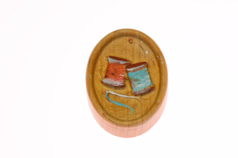 Painted Thread Spools Carved Magnetic Needle Minder