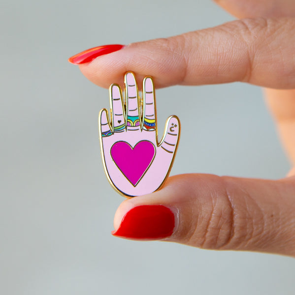 Heart in Hand Enamel Pin