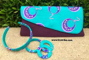 Aqua & Purple Jute Kenyan Clutch