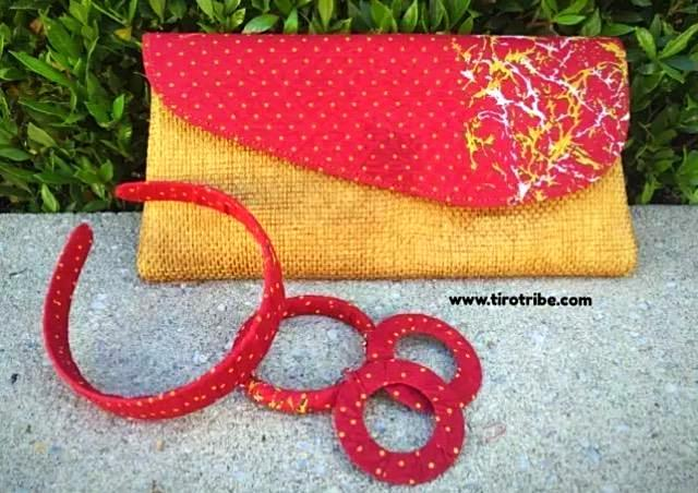 Red and Tan Polka Jute Kenyan Clutch