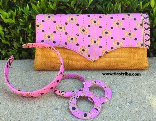 Light Pink & Tan Dot Jute Kenyan Clutch