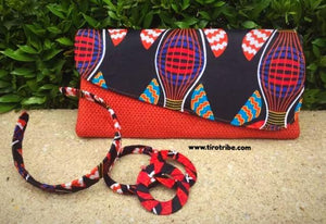 Deep Orange , Red, Blue, Black Jute Kenyan Clutch