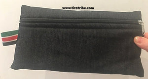 Black denim rectangle zip bag