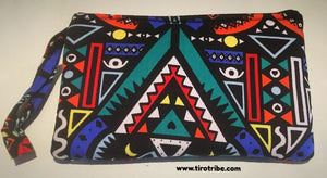 Tribal blue & orange multi-coloured cosmetic bag / purse