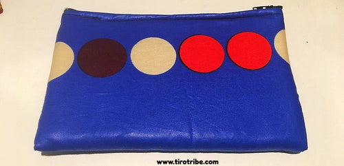 Polka dot blue travel cosmetic purse