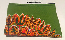 Medium green, blue, orange kitenge purse