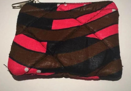 Mini pink, black and brown purse