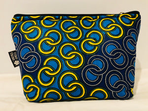 Large blue yellow circles beauty/ travel bag
