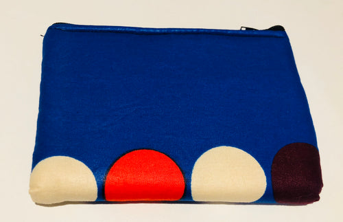 Blue & polka medium square purse