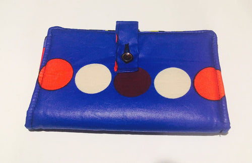 Blue polka dot wallet purse
