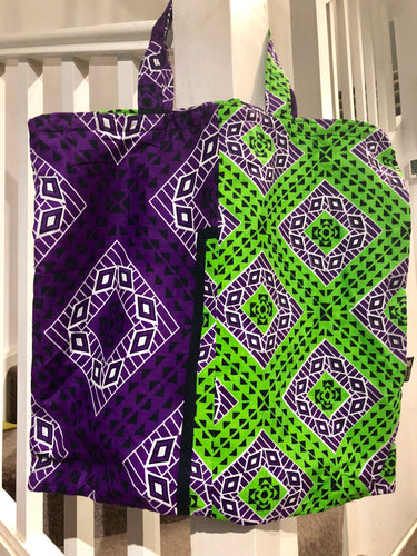 Purple & green kanga tote bag