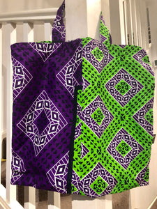 Purple & green kanga bag