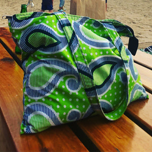 Green drop kanga tote bag