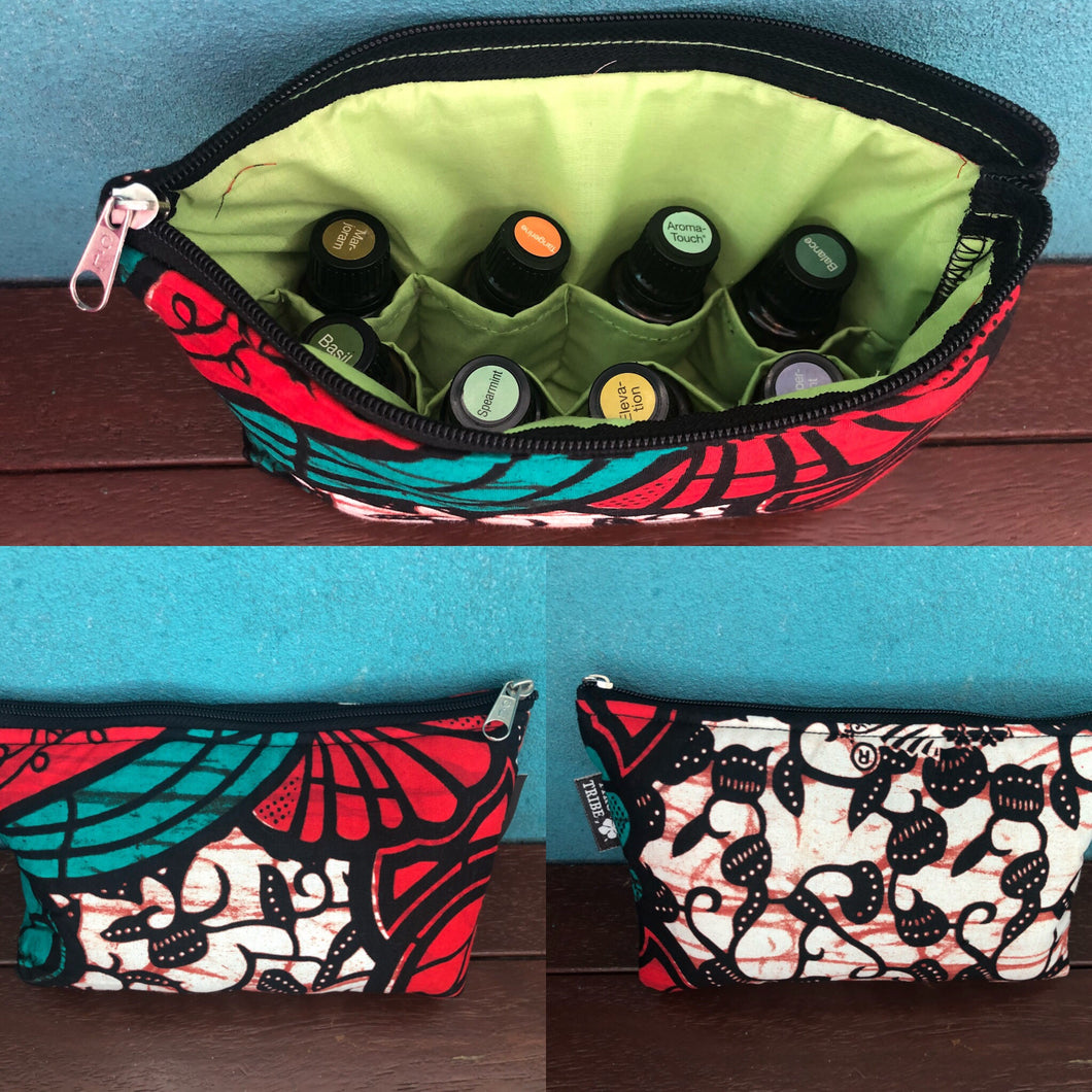 Kitale red and green essential oil purse (8 pockets)