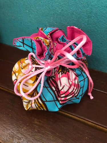 Kitenge fabric drawstring bags (8 pockets)