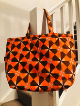 Orange and chocolate tote beach bag