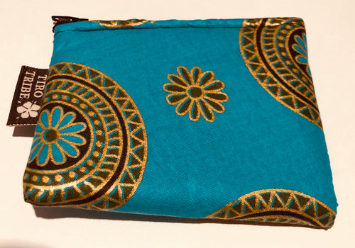 Mini turquoise & gold flower purse