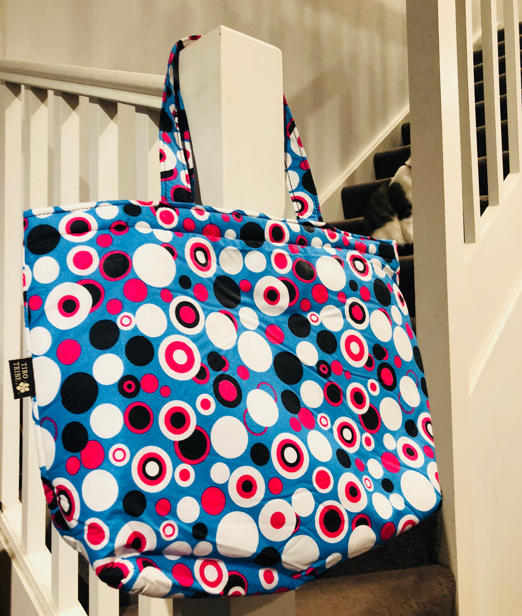 Watamu turquoise and pink tote bag