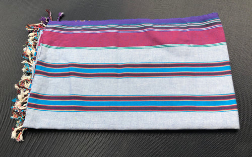 Kenyan Kikoi wrap 2 - Maroon, purple and blue