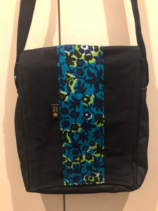 Marine Blue Floral Denim Cross Body Bag