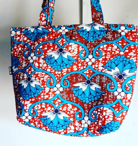 Malindi red and blue floral tote bag