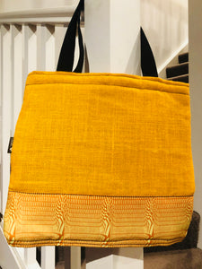 Honeycomb jute yellow laptop, shoulder bag