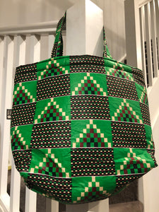 Shimba green tote beach bag