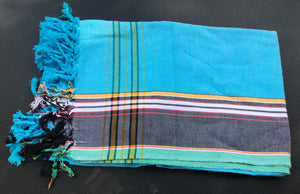 Kenyan Kikoi wrap 9 - Green, turquoise and white
