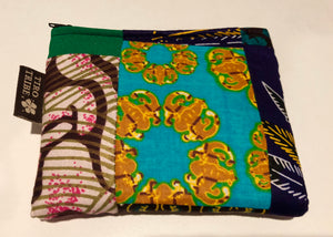 Medium lamu square patchwork kitenge purse