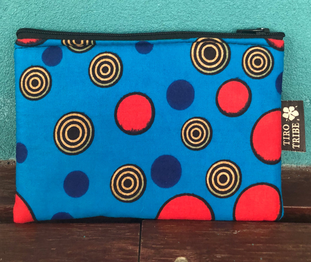 Blue and red circle square purse