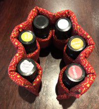 Coral sparkle essential oil bottle pouch (6 pockets)