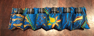 Blue sparkle 5ml essential oil bottle pouch (6 pockets)