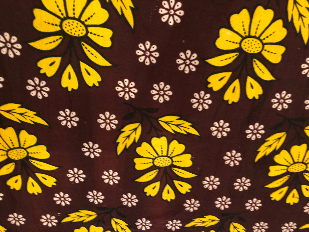 Sunshine - Yellow Dusky Floral Single Kanga