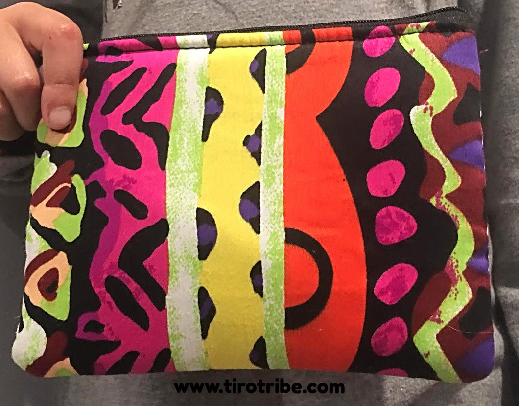 Tribal pink & orange multi-coloured cosmetic bag / purse