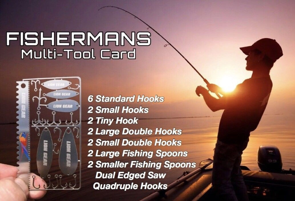 EDC 22 -1 Fisherman Card Wilderness Survival Fishing Tool Set Hooks & Spoons - Outback Tactical