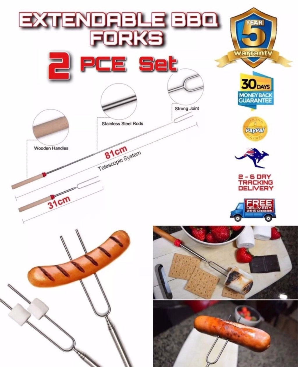 2 PCE BBQ Extendable Telescopic Marshmallows Sausage Roasting Forks - Outback Tactical