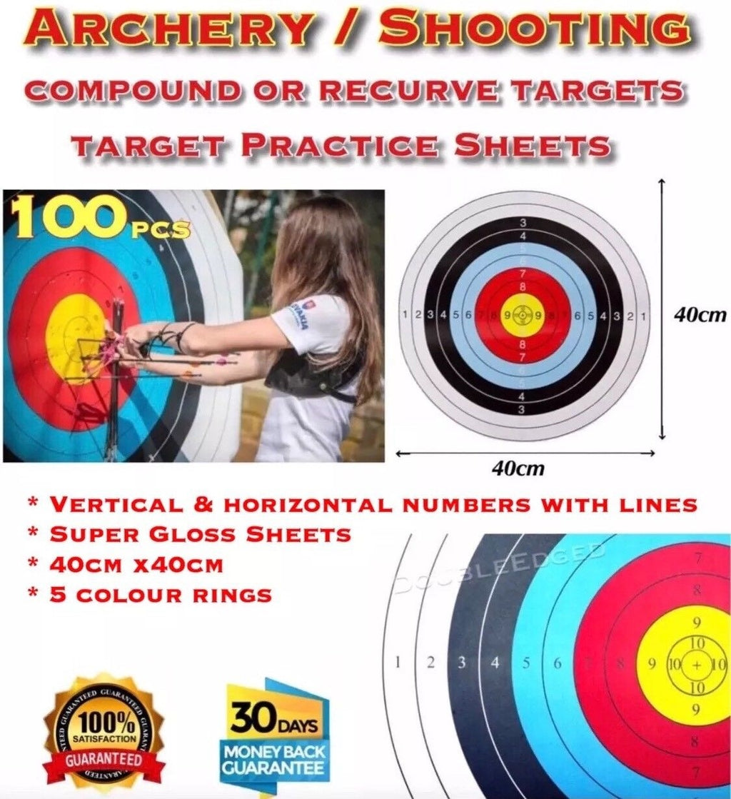 X100 ARCHERY SHOOTING TARGETS COMPOUND OR RECURVE 40x40cm - Outback Tactical