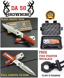 XL Large Browning DA50 Airforce Pocket Knife + FREE: FireStarting Necklace & Case - Outback Tactical