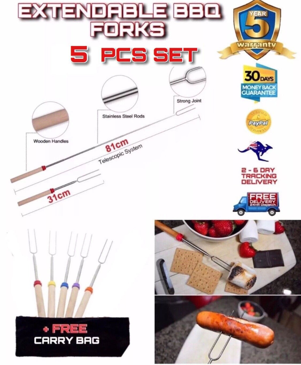5 PCE Telescopic  Extendable Roasting Marshmallow BBQ Fork +CARRY BAG - Outback Tactical