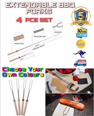 4 PCE Telescopic Roasting Marshmallow Barbecue BBQ Skewers Fork FREE DELIVERY - Outback Tactical