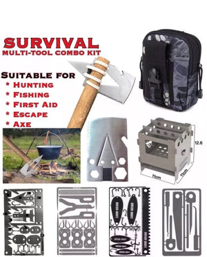 EDC Survival Multi Tool Combo Kit Ultra Large Stove Inside Black Belt Pouch - Outback Tactical