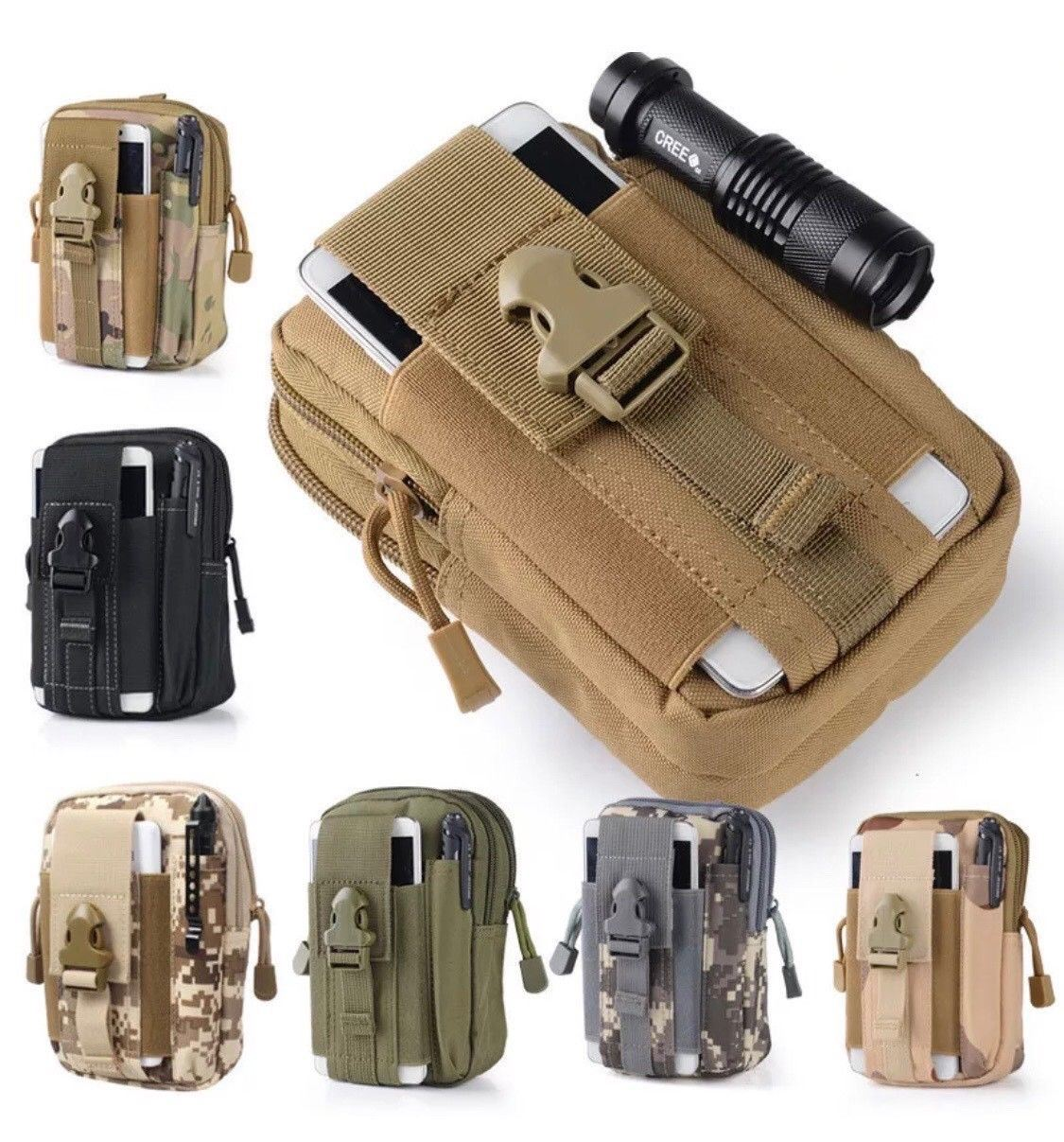 EDC Survival Multi Tool Combo Kit With Green   Camo Belt Pouch - Outback Tactical