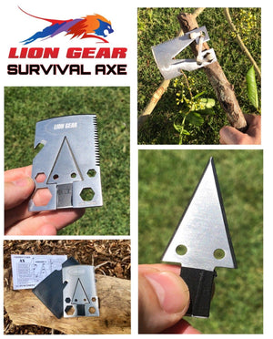 Survival Card Set Axe Hunting Fishing First Aid Escape Mini Stove Q5 Flashlight - Outback Tactical